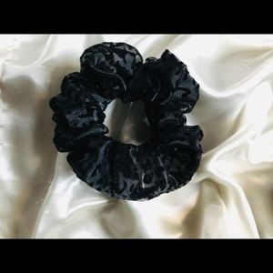 Black Organza Scrunchie With Leopard Spots